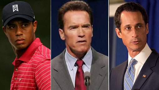 tiger woods arnold schwazeneggar and anthony weiner